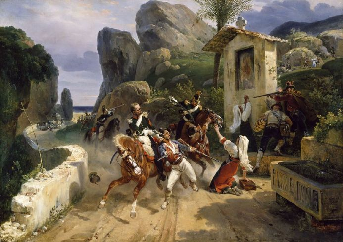 Vernet, Emile Jean Horace: Italian Brigands Surprised by Papal Troops. Fine Art Print.  (003477)